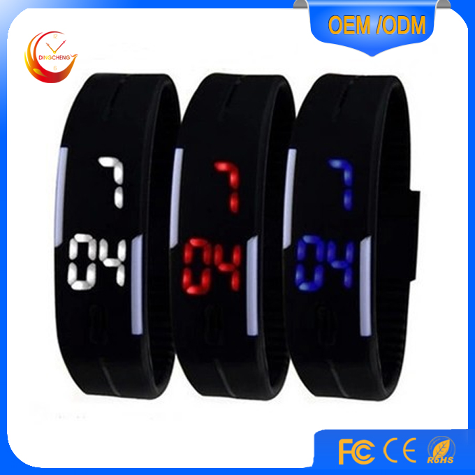 Colorful Led light up Silicone Wristband digital Watch