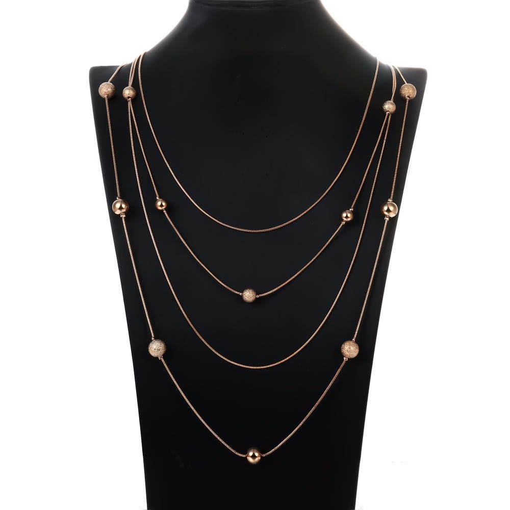 YongZe 2017 fancy snake chain copper bead artificial women female fashion gold thin long chain imitation statement bead necklace