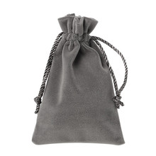 High Quality Rectangle Taupe Velveteen Velvet Pouch Jewelry/Gift Bags