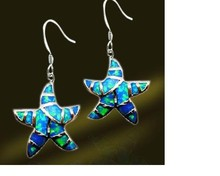 Sea Series Ocean Fire Opal Fish Hook Spring Star Earring Sterling Wholesale Jewelry