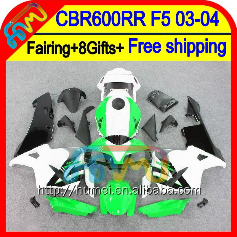 8Gifts For HONDA Injection CBR600RR 03-04 50HM10 CBR600 RR Green white F5 CBR 600RR 600 RR 03 04 2003 2004 Fairing Green black