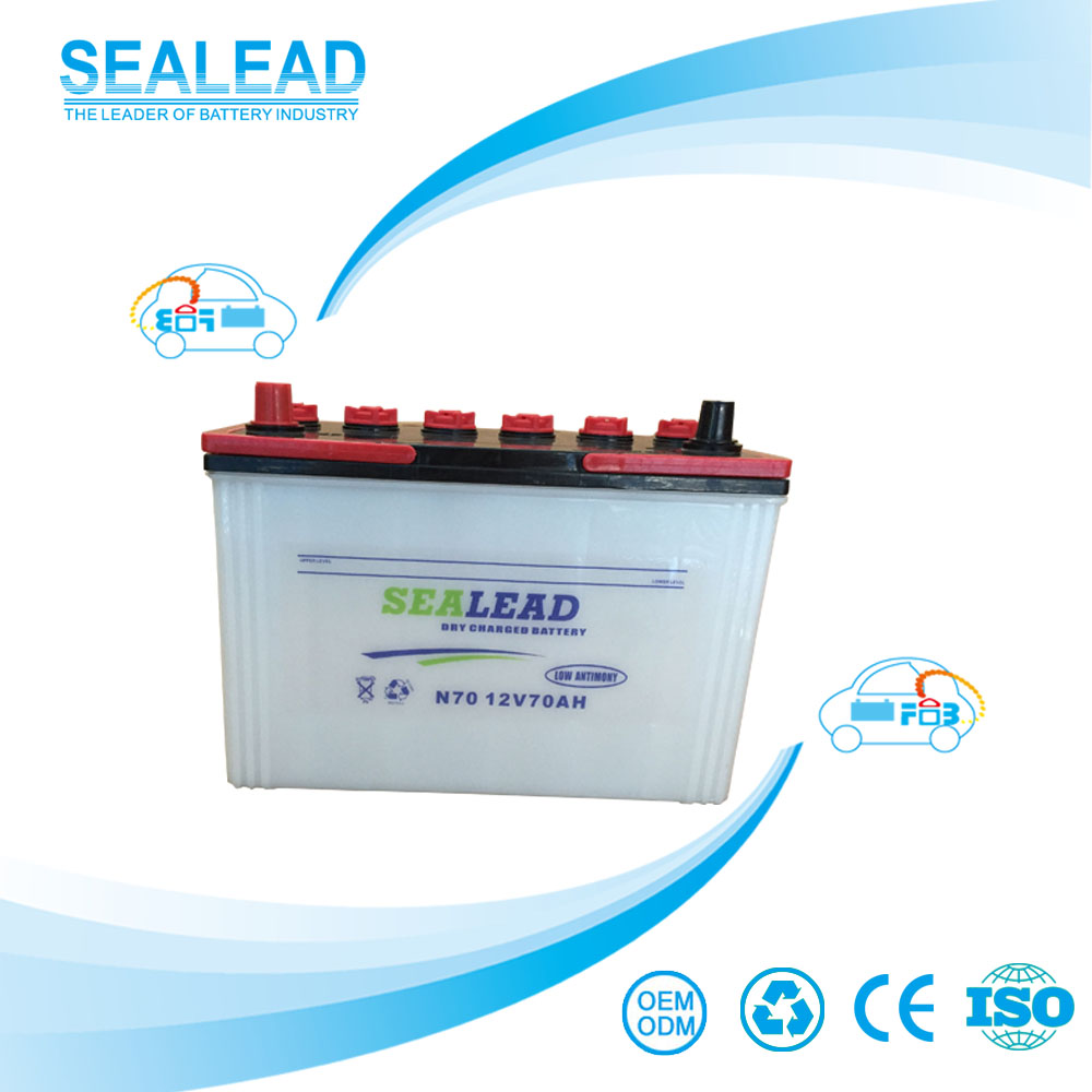 SEALEAD brand 12v 70ah dry cell battery for car