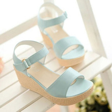 SAA3492 Plain summer new sweet ladies platform wedge sandals 2016