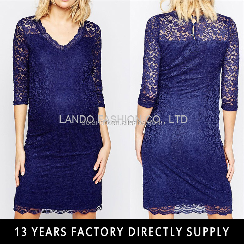 Half sleeve maternity bodycon lace dress for Pregnant Women 2016
