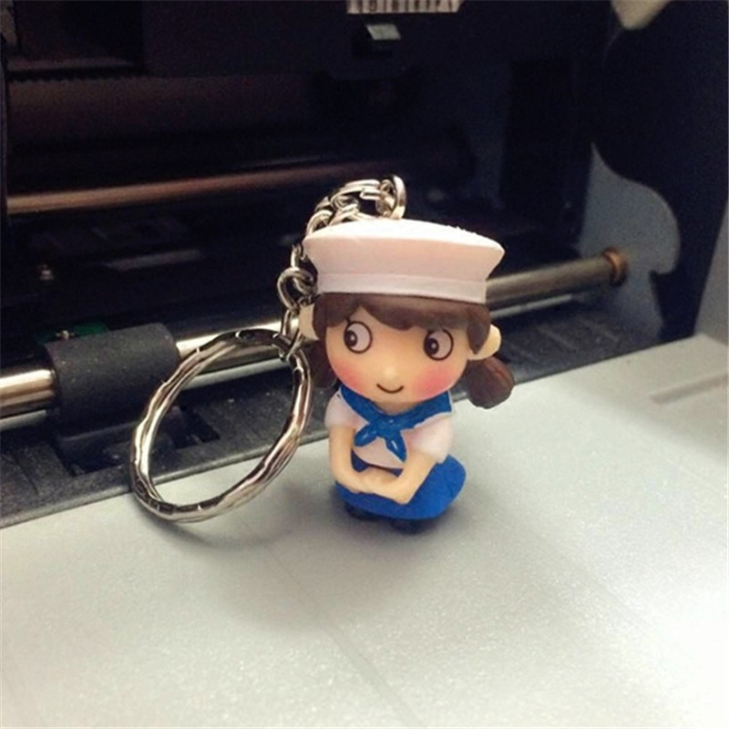 New style blue metal material Navy couple <strong>key</strong> for birthday gifts men and women keychain