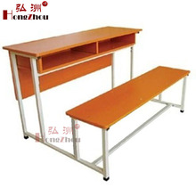 Double School Desk and Bench Student Desk Attached Chairs College Table and Chair for Sale