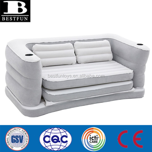 Inflatable Sofa Bed flocking PVC fold up couch plastic blow up furniture air chair bed couch portable sun beach lounger