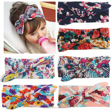 Fancy baby headbands Baby girl flower printed cotton elasti Turban knot headband