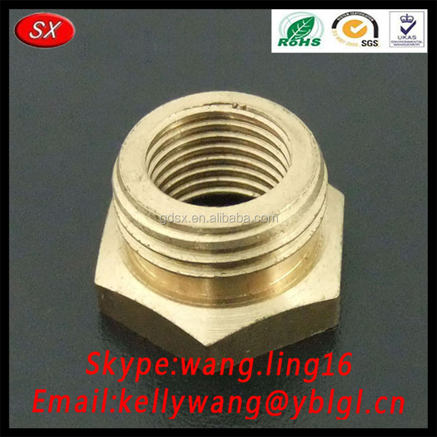 high quality good price precise hex flanged brass male female bush,cnc turning machining brass bushing,brass shaft bushing