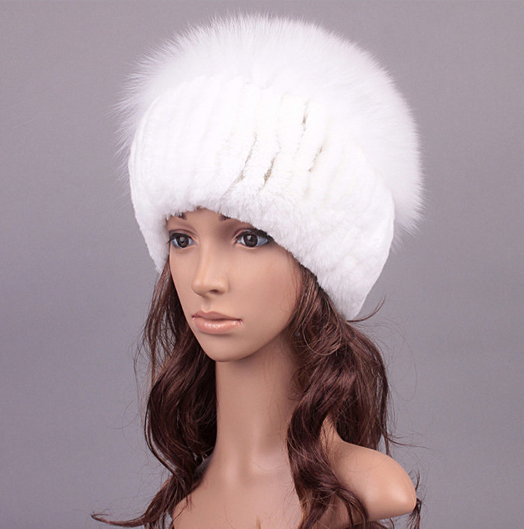 Real White Rabbit Knitted Fur Hat with Fox Fur