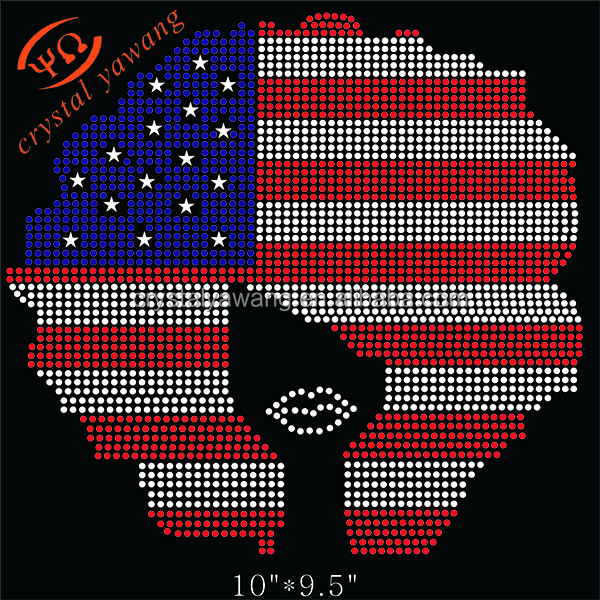 Custom American Flag Afro Girl Rhinestone Transfers
