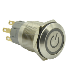 5A/250VAC Ring illumiantion and illuminated power symbol metal pushbutton