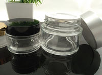 30g Cosmetic Cream oval glass jar with black top