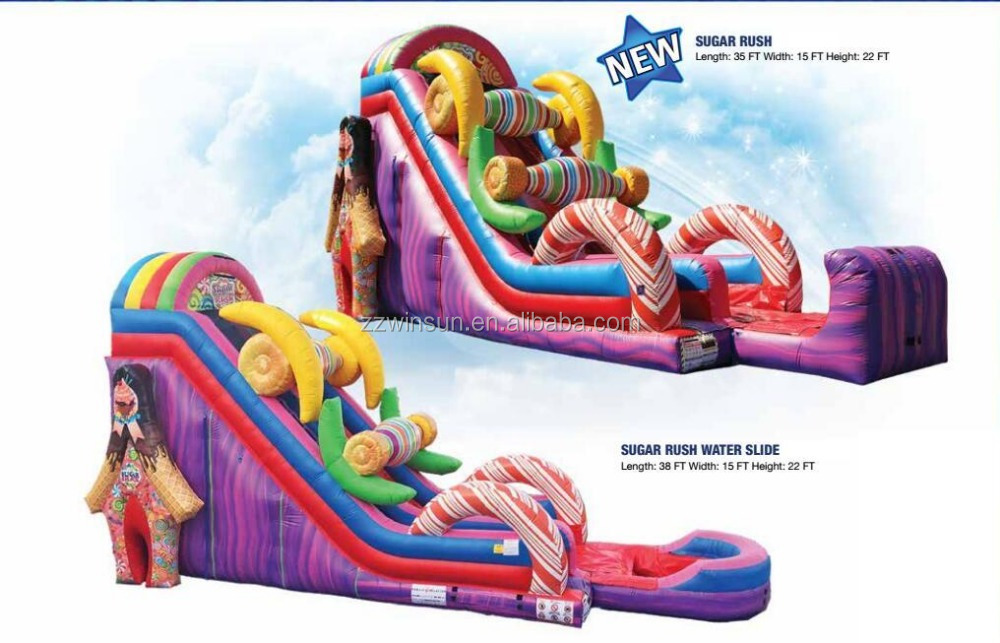2016 New Sugar Rush Inflatable Water Slide For Sale, Inflatable Candy Water Slide
