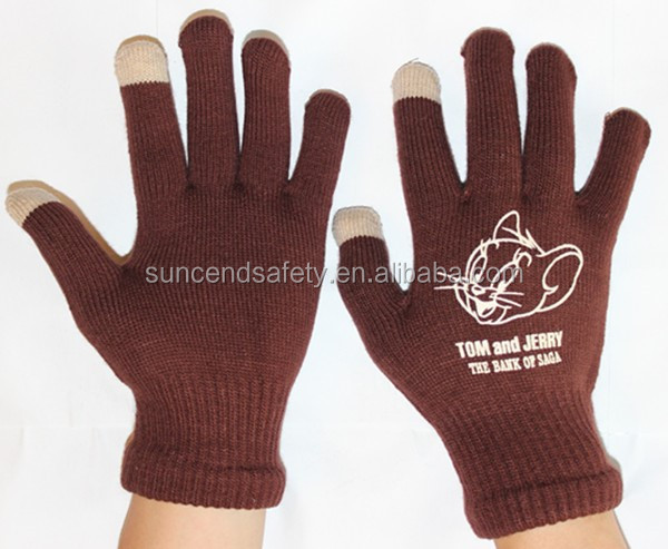 Pink knitted winter texting magic screen touch gloves for women