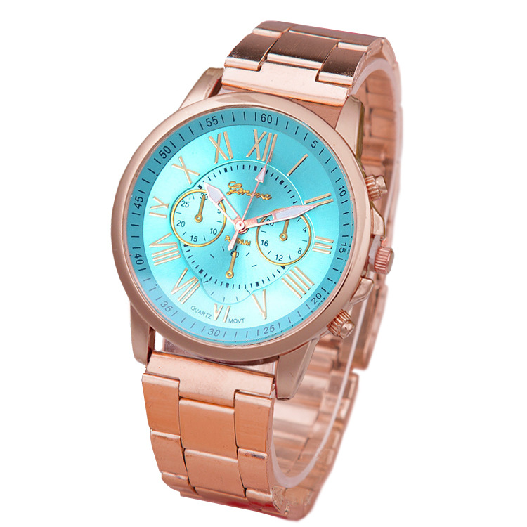 Women Stainless Steel Band Colored Face Watch,New Classic Two Tone Bracelet Watch Geneva Watch