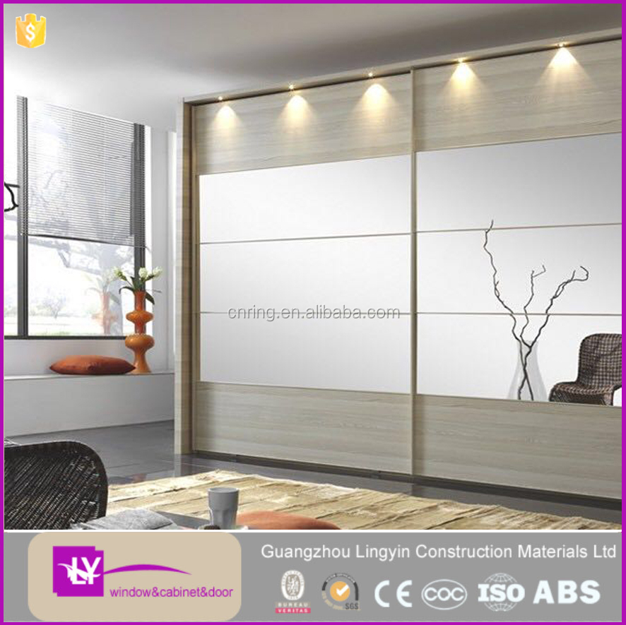Wholesale Furnitures modernt wooden wardrobe with mirror for bedroom.