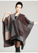 2015 European and American hot style cape long knitted cardigan shawls cloak female