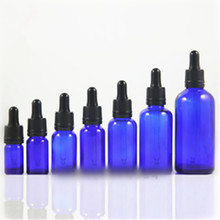 DIN18 Neck 5ml 10ml 15ml 20ml 30ml 50ml 100ml Cobalt blue Glass Pipettes bottles <strong>W</strong>/ Black TE Glass Droppers