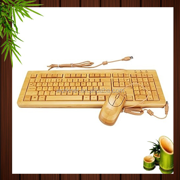 China factory handmade 3 keypads Swiss layout bamboo wooden PC wired keyboard and mouse