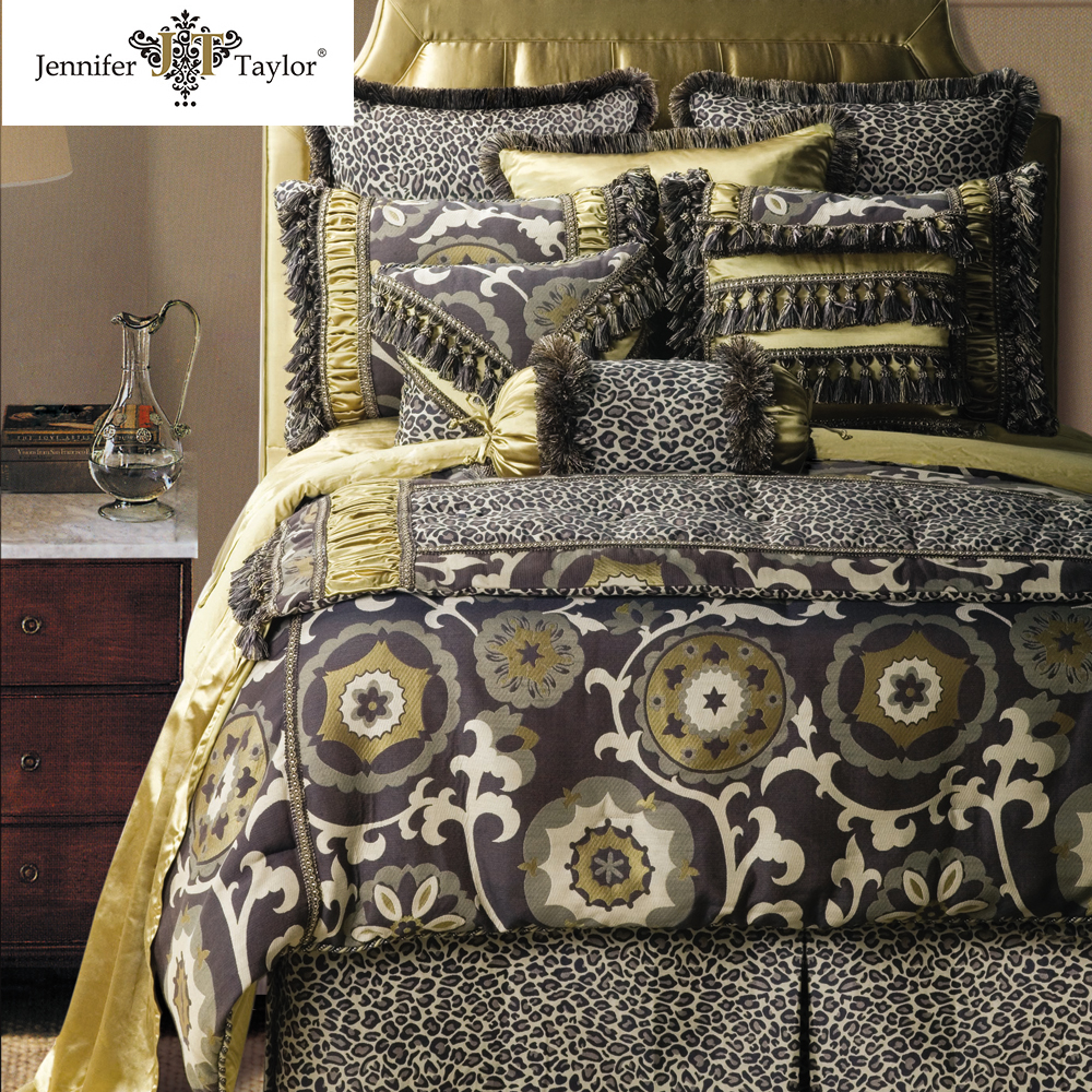 luxury comforter 9 pcs sets include pillow , comforter , bedskirt/ wholesale comforter sets bedding