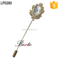 High quality wedding crystal gold metal lapel pin for men suits