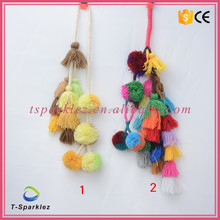 Pom Pom Lace Trim Balls Tassel Fringe Ribbon Handmade Colorful Apparel Cord Lace Fabric DIY Craft Sewing Supplies