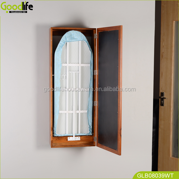 Floding wall mounted ironing board cabinet cover with clothes rack