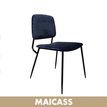 Stackable metal dining chair velvet upholstered