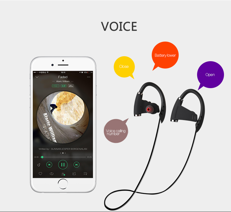 phone accessories mobile bluetooth headphones / headset / earphone manufacturers for smart phone,iphone 7,android with NFC