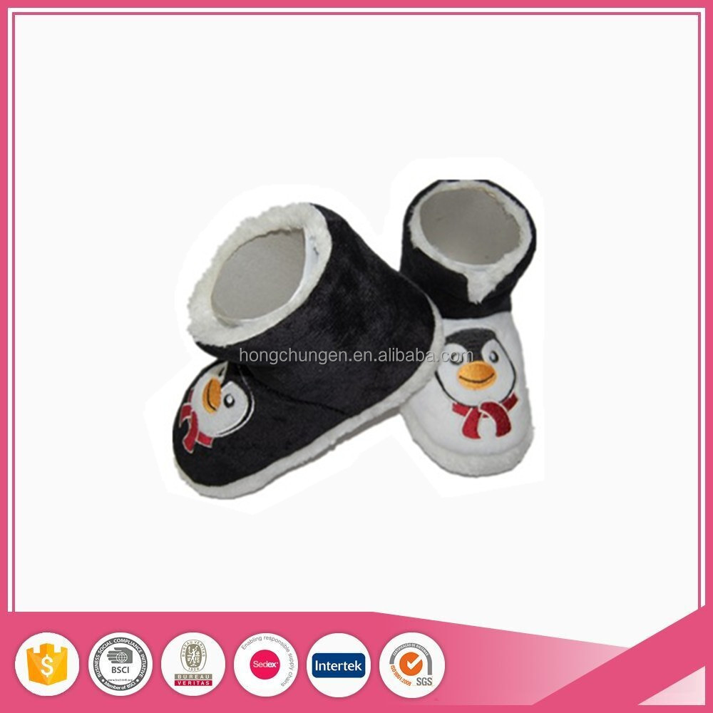 penguin applique cute warm winter boy home slippers boots