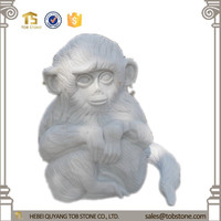 2015 hand carved white marble monkey statue