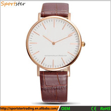 High quality geneva rose gold stainless steel back genuine leather quartz watch