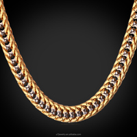 "U7 Two Tone Gold Chain For Men Jewelry With ""18K"" Stamp Gold Plated Fashion Jewelry Trendy 55 CM Franco Chain Men Necklace"