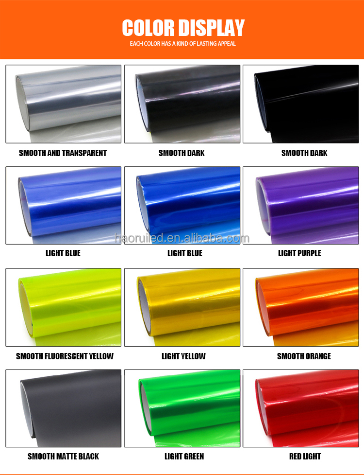 Fashion pvc vinyl auto light tint film 30cm*90cm roll car light film with 12colors