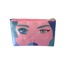 Factory supply promotion popular Zipper pu Cosmetic bag waterproof makeup pouch Bag with colorful printing picture