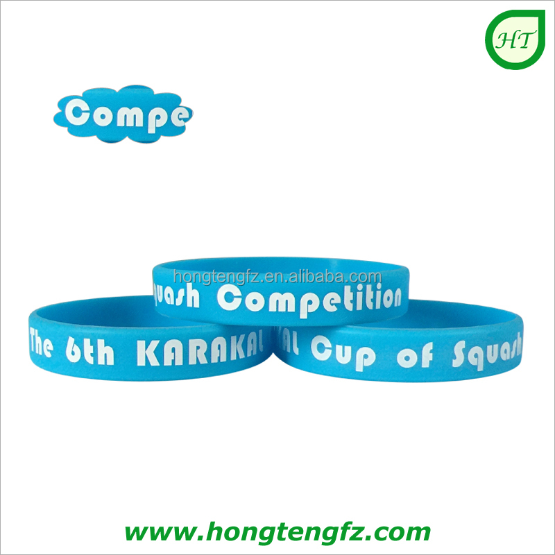 Best selling blue silicone wristband silicon wrist printed rubber bands