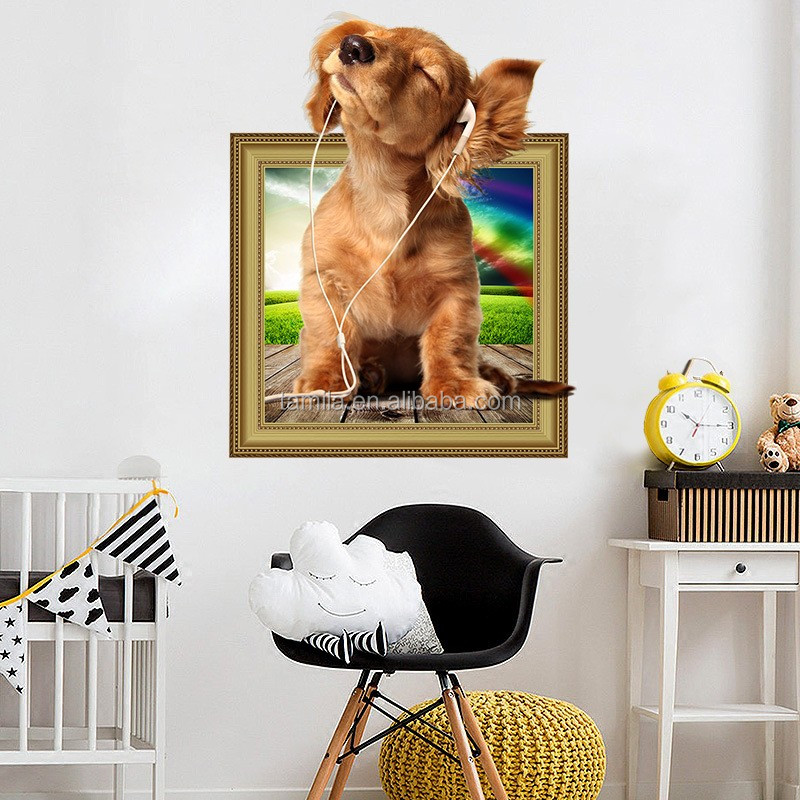 DIY Lovely Dogs 3D Wall Stickers For Kids Baby Room Childrens Bedroom Kitchen Refrigerator Decorative Decals Home Decor