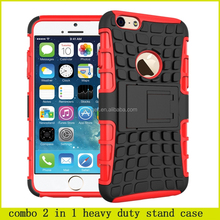 Hibrid shockproof combo 2 in 1 heavy duty stand case for iphone 6, for iphone 6 shockproof case