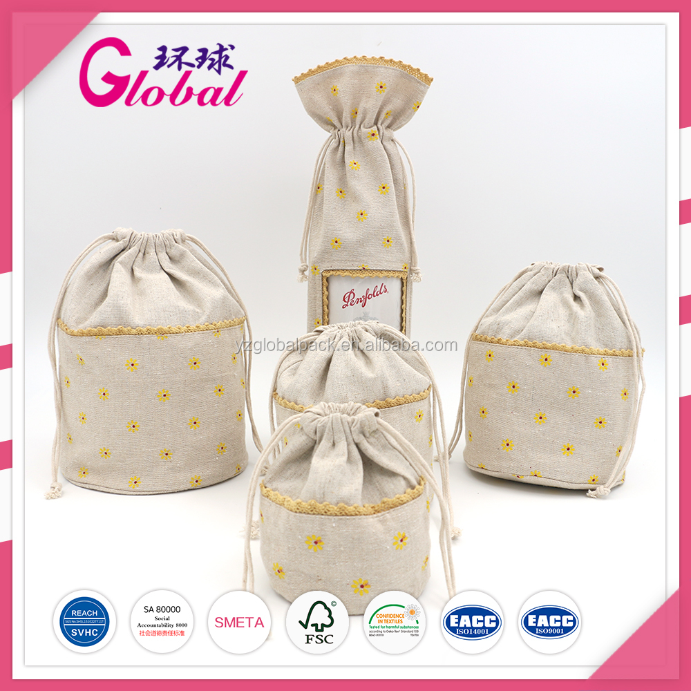 Global Printing Color Two-Layer cotton drawstring dust bags
