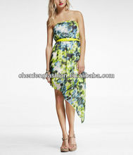 CHEFON Asymmetrical hem puffy short prom tube dress CED0049