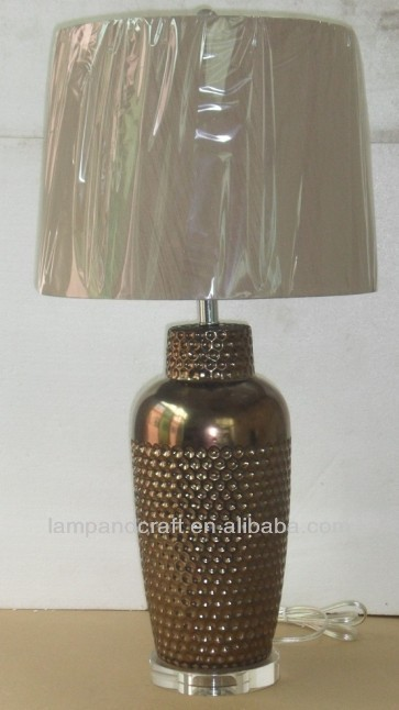 dark brown round lamp dot ceramic table lamp with crystal lamp holder and fabric brown shade
