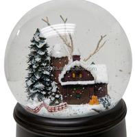 100MM Snow House glass snow globe for custom water ball