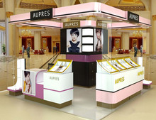 4*4m square mall mac cosmetic make up products display showcase kiosk