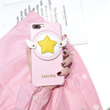 Dropshipping Anime Card Captor Sakura PU Leather Mobile Phone Case For iPhone X 8 8plus 7 7plus 6 6s 6plus