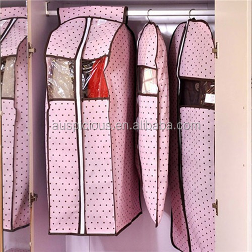 ECO friendly customized PVC plastic clear garment bags with pockets