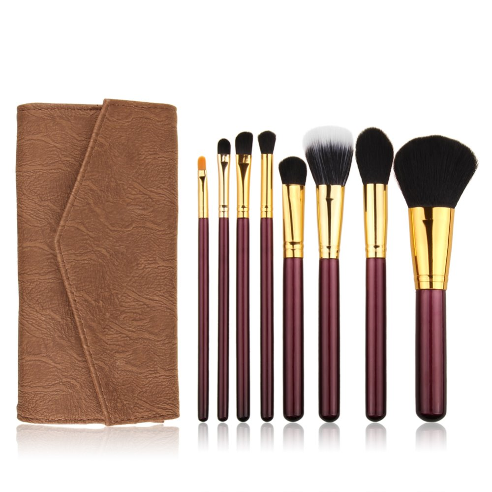 Mermaid Makeup Brush Wood Pattern Products Made In China Private Custom Brushes With Leather Bag