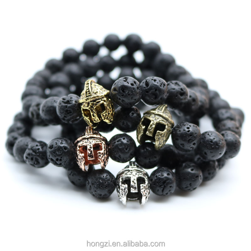 Rock Stone Bead Bracelets Antique Gold Plated Roman Warrior Gladiator Helmet Bracelet Men Black Lava For Men Pulseras