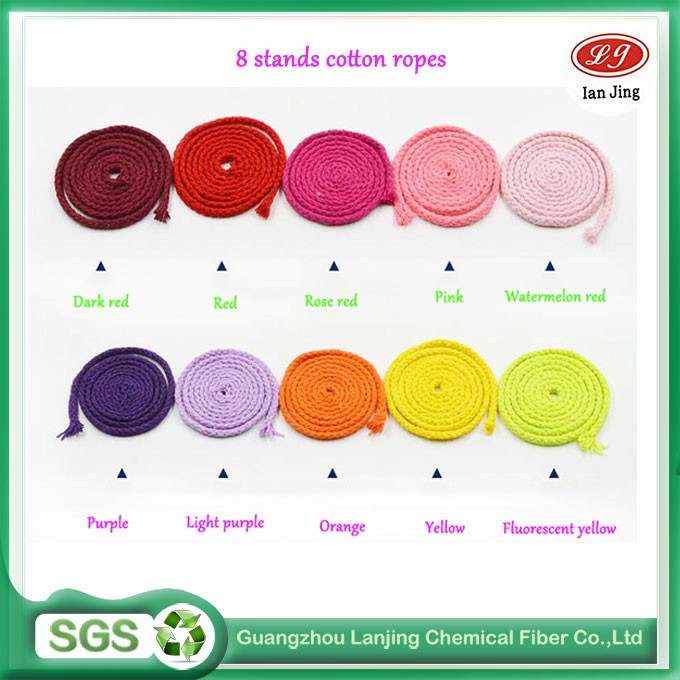 Customized 8 strands high quality colorful cotton ropes for macrame