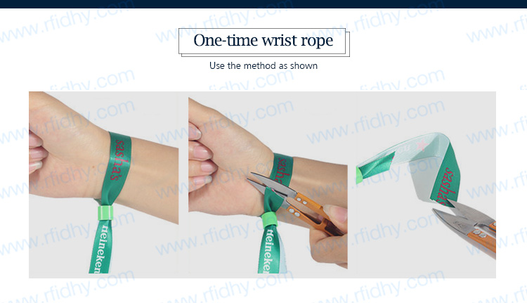 HYWNL01 Wholesale MIFARE Ultralight C RFID Woven Wristband with PVC Tag